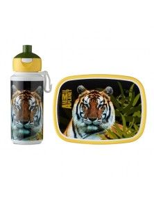 Rosti Mepal Childs Lunch Box and Pop Up Drinks Bottle, Animal Planet Tiger
