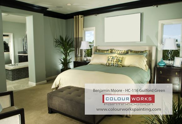Colour Series bedroom - Guilford Green #torontopainter  #interiorpainting   #bedroompainting   #paintingestimates  #homestarspainters   #houzzpainters   #benjaminmoore