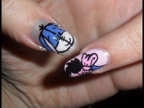 ▶ Simple Little Eeyore nails- tutorial nail art piccolo ih oh! - YouTube