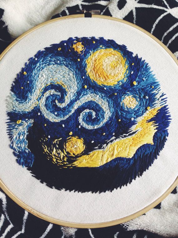 Hand Stitched Embroidery  (now sold)   by Jordan Dow Prince /  eurekada on etsy.Inspired by Vincent Van Gogh's Starry Night