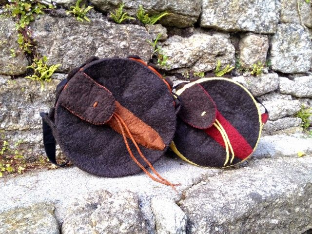 These are the beater pouches on the back of the shamanic drum bags I make.