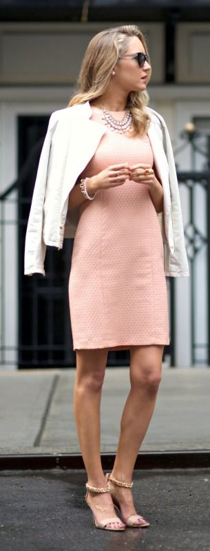 peach sheath dress + white leather jacket I have something very similar