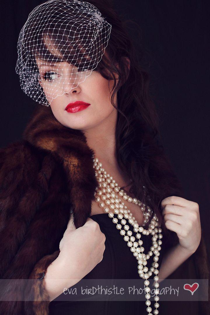 fur & pearls, very vintage