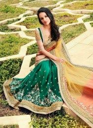 Mesmerizing Green Color Latest Designer Sari With Amazing Embroidery Work