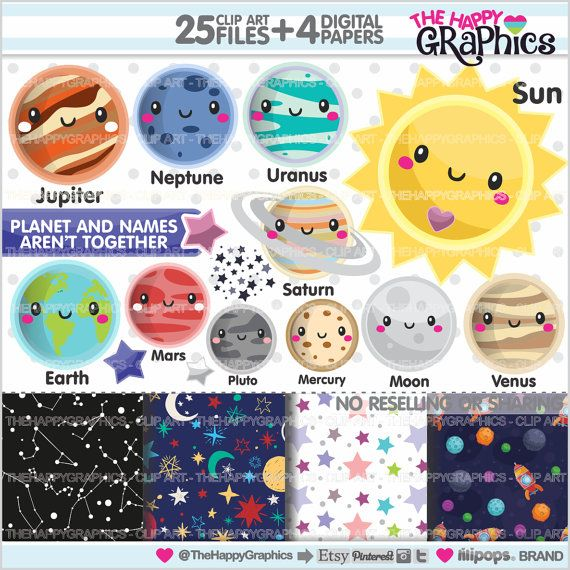 ★New listing! Solar system graphics for COMMERCIAL USE - Kawaii cliparts