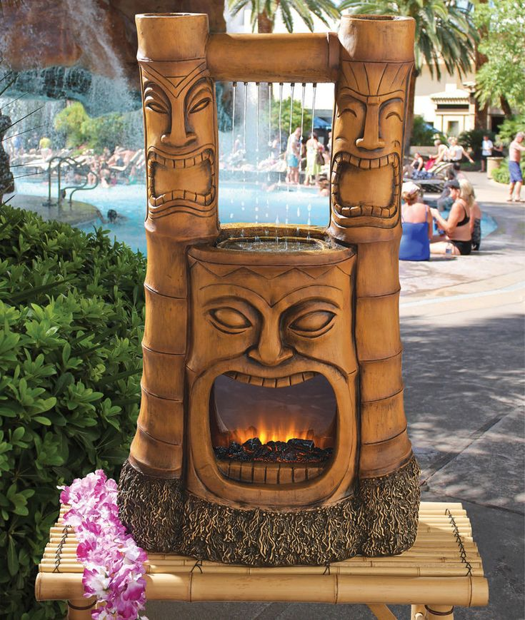 Hawaiian Home Design Ideas: Tiki Bar Decor Waterfall Polynesian Tiki Statue Lighted