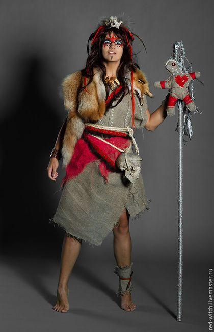 Ролевые игры, Реконструкция ручной работы. Костюм куклы ВУДУ или Шаман, девушка Описание Костюм куклы ВУДУ. Сделан из мешковины, хорошо подходит для костюмированных вечеринок. Из него можно сделать костюм шамана ВУДУ. В зависимости от желания. Платье регулируется от 42 до 46 размера.