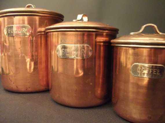Set of 3 Copper-clad Canisters - 1950's - Stainless and Copper Kitchen Canister Set -