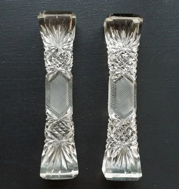 Pair of Vintage Cut Crystal Knife Rests. Cut Glass Cutlery Rests Dining in Style…