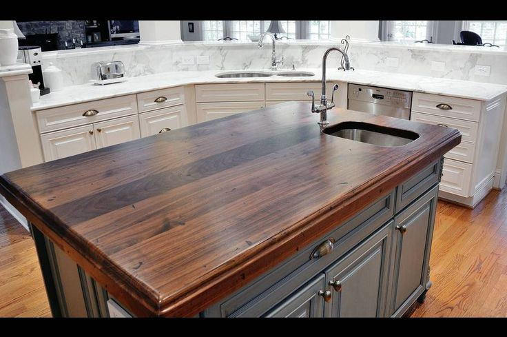 Island Countertops: Distressed Black Walnut