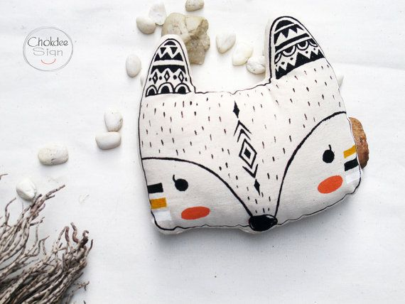 Fox pillow, cotton canvas material, Original hand acrylic painted.  Measuring 8 (w) x 8 (h)  100% cotton fabric has a unique original hand acrylic