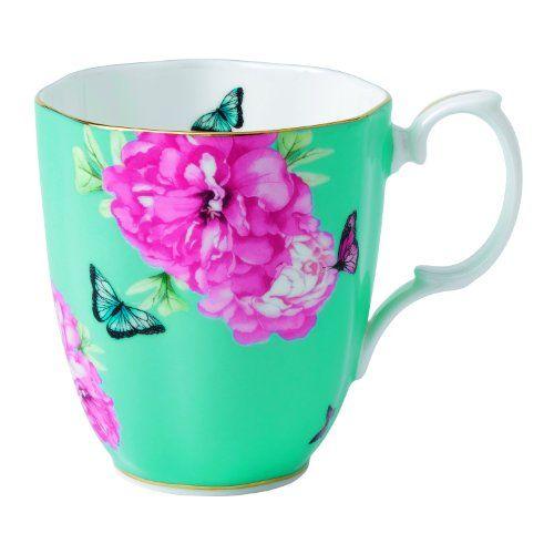 Royal Albert Friendship Vintage Mug Designed by Miranda Kerr, 13.5-Ounce, Turquoise Royal Albert