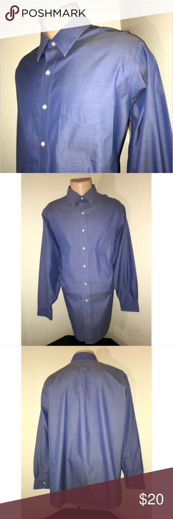 Brooks Brothers Oxford Blue Non Iron Dress Shirt PLEASE NOTE MEASUREMENTS BELOW TO ENSURE PROPER FIT  Size: 16 1/2 - 34 Color: Blue Tag Measurements- 16 1/2 - 34 Material: 100% Cotton Condition: Great Features: Long Sleeve, Comfortable and lightweight, Spread collar, Standard Cuffs, Front left breast pocket Flaws: The tips of the spread collar show little wear. Please refer to photo.   Measurements:  Chest - 26 inches  Shoulder - 19 inches  Sleeve - 24.5 inches  Length - 33 inches Brooks…