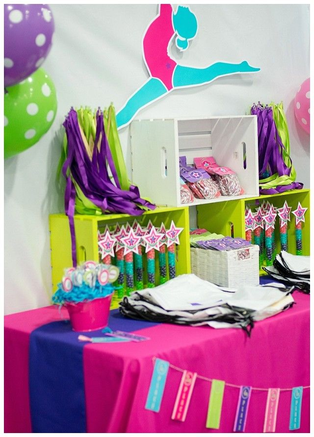 tumble and twirl with the birthday girl in this bright and colorful gymnastics birthday party full of perfect ideas for dcor favors activities