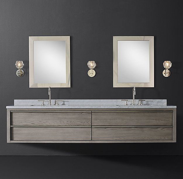 Bezier Double Long Floating Vanity. Grey Oak & Pewter with Italian Carrara Marble. $3637 Member price.