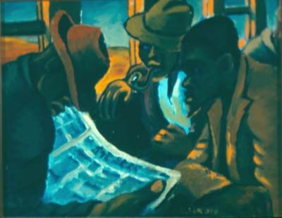 In the Orlando train, Gerard Sekoto. This oil painting could be called A Study in Browns. It depicts three men in the dark interior of a railway coach ...