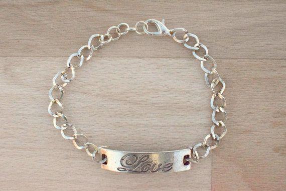 Silver Love Bracelet  Bar Bracelet  Secret Message by SkadiJewelry