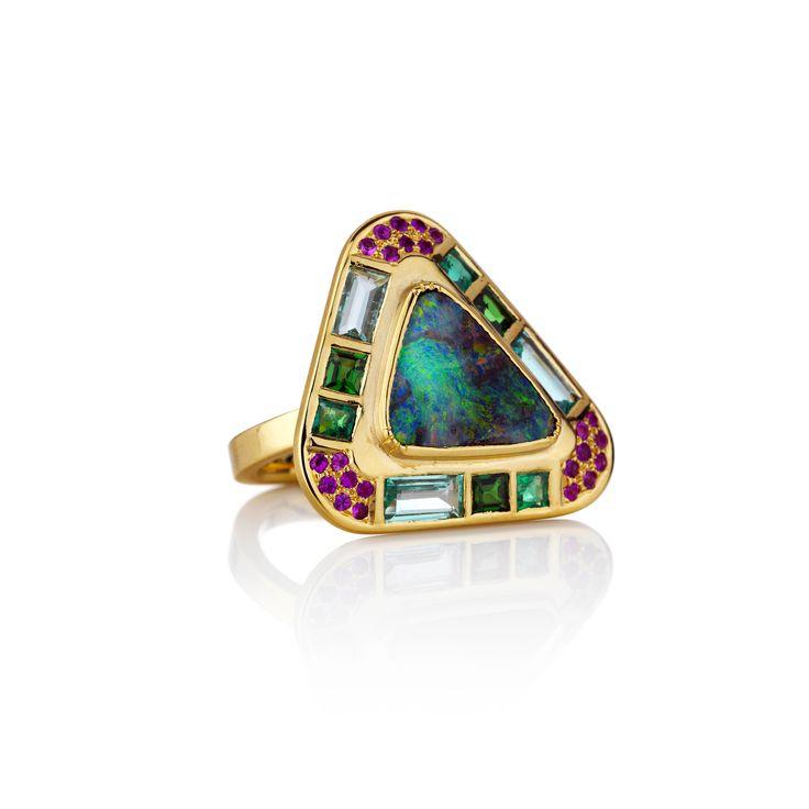 Hoffman Triangle Opal Emerald Tsavorite Sapphire Ring - Fine jewelry London, LA | Modern Jewelry | Alernative wedding & engagement rings by designer Brooke Gregson - Ziggurat - Brooke Gregson USA #AustraliaOpal