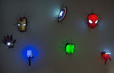 Marvel 3D Wall Art Night Lights BUNDLE Iron Man Hulk Spiderman Captain America