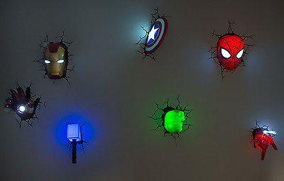 Marvel Wall Lights Iron Man : Marvel 3D Wall Art Night Lights BUNDLE Iron Man Hulk Spiderman Captain America Thors hammer ...