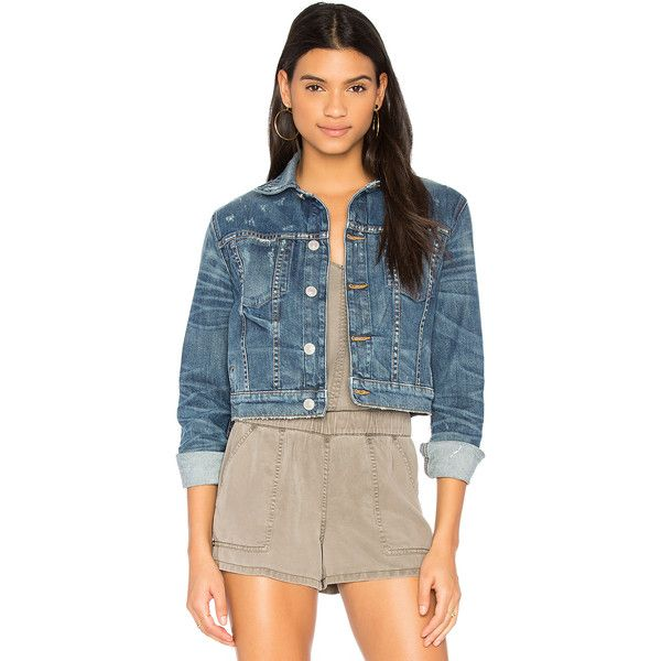Hudson Jeans x REVOLVE Garrison Cropped Denim Jacket ($255) ❤ liked on Polyvore featuring outerwear, jackets, coats & jackets, distressed jacket, cropped jean jacket, jean jacket, distressed denim jacket and cropped denim jacket