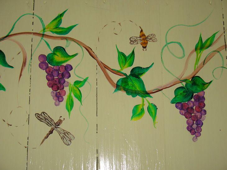 """Роспись предметов: расписанная дверь. (Роспись по дереву, техника двойного мазка, """"one stroke"""", акриловые краски) ФОТО #8"""