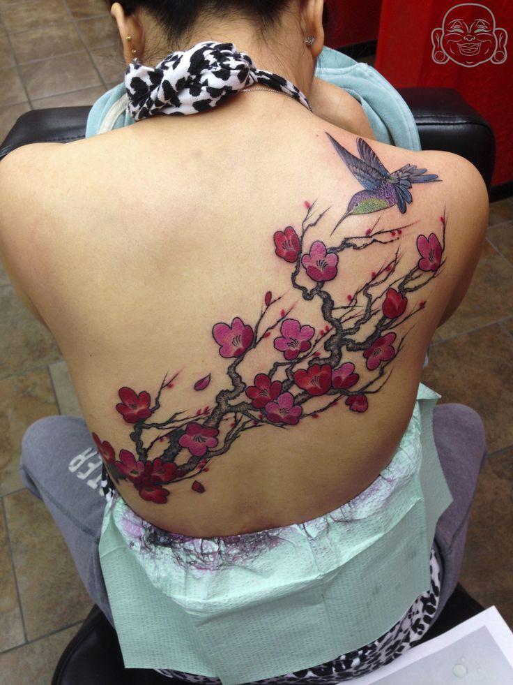 Chinese cherry blossoms and hummingbird ?
