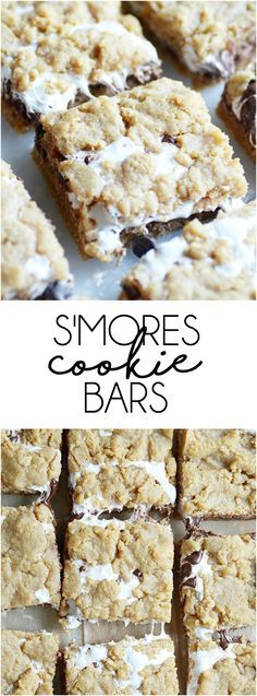 S'mores Cookie Bars: Soft, chewy, and slightly crunchy graham cracker cookie bars with a marshmallow swirl and semi-sweet chocolate chips. ~ Something Swanky                                                                                                                                                                                 More