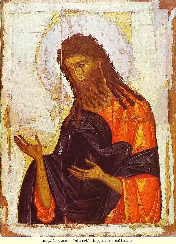Russian Icon. St. John the Baptist.   14th century. Byzantine icon. 87 x 66 cm. The Hermitage, St. Petersburg, Russia