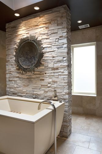 Gorgeous use of ledger to add texture to a bathroom | ART Design Build
