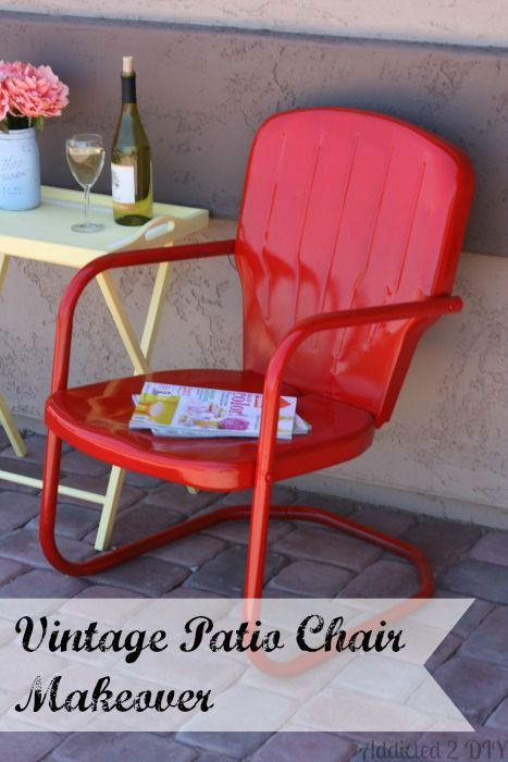 Vintage Patio Chair Makeover | Addicted 2 DIY  Simple steps to give a rusty metal chair a new lease on life!