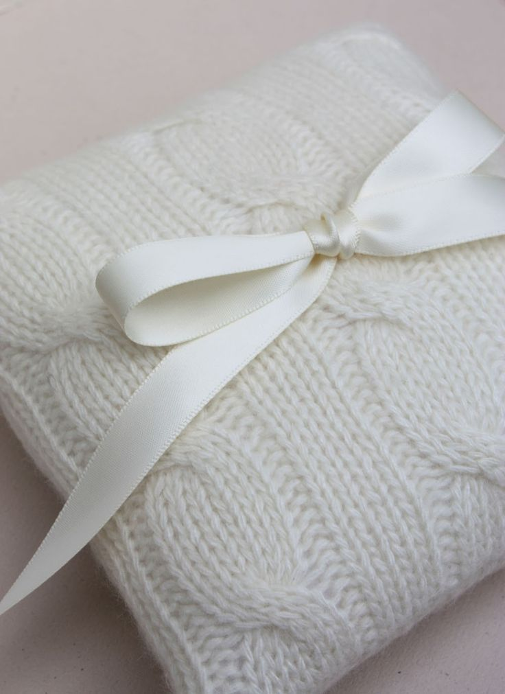 Wedding Ring Bearer Pillow Cream Cable Knit by LilliansGarden