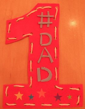 Fine Motor Skills: Lacing Card Craft for Father's Day using Foam Sheets, shoe laces and peel & stick foam letters. Other idea: using thick cord friendship bracelet strings and having kids write letters out using glitter glue.