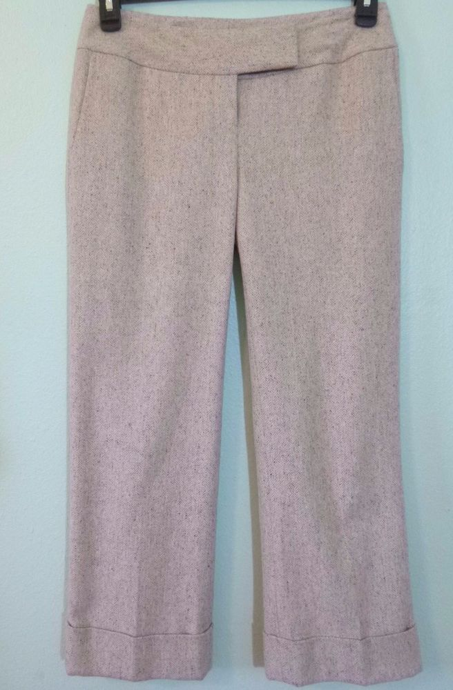 ca329657d4e Ann Taylor Womens Pants size 2 Beige Herringbone Cropped Cuffed Lined Wool  Blend  AnnTaylor  DressPants