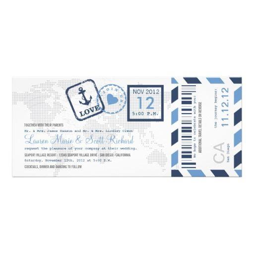 Boarding Pass Nautical Airmail Ticket Invitation Pinterest