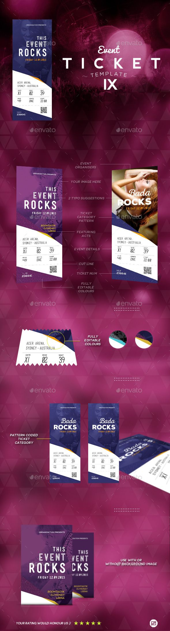 25 best ideas about event ticket template on pinterest event ticket printing event tickets for Concert ticket template psd