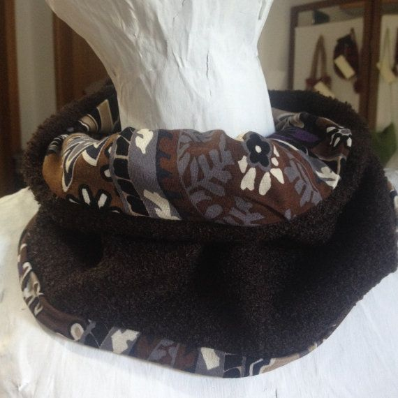Neckwarmer cowl scarf Handmade brown double by PixiesFairies