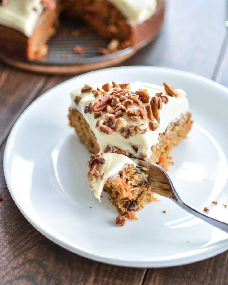 Easy and Moist Carrot Cake with Pecans and Cream Cheese Frosting