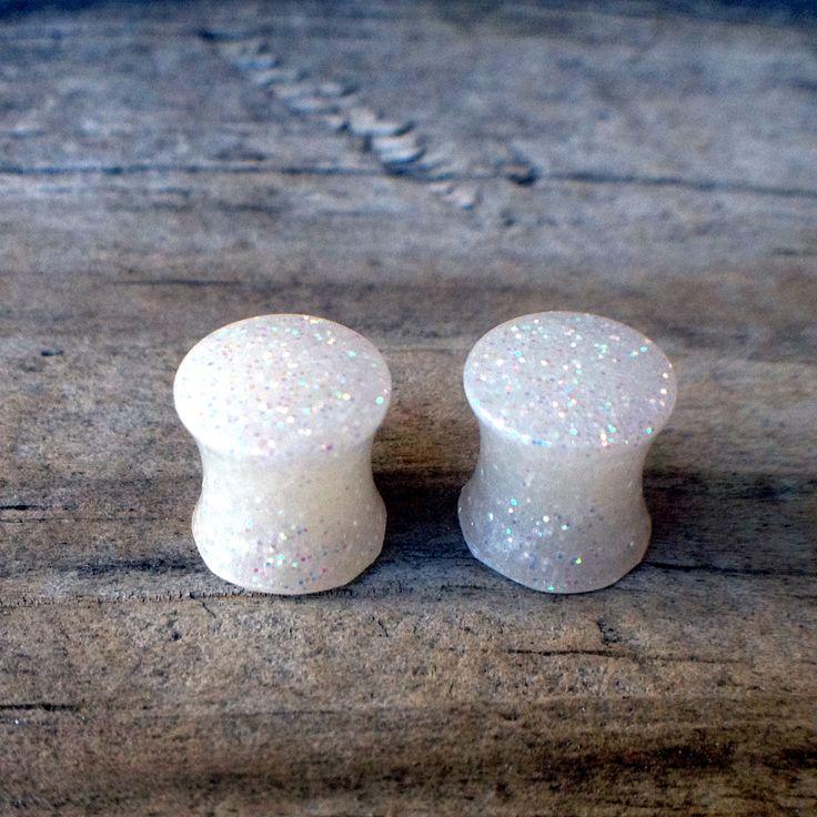 0 g Plugs / 8 mm Plugs / Ear Plugs /  Custom Ear Plugs / White Ear Plugs / Glitter Ear Plugs / White Gauges by NewNormalDesigns on Etsy