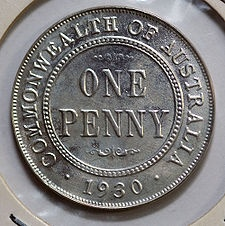 A silver copy of the rare and valuable 1930 Australian penny