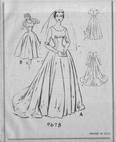 Bridal dress vintage pattern mccalls 9678 empire waist for Empire waist wedding dress patterns