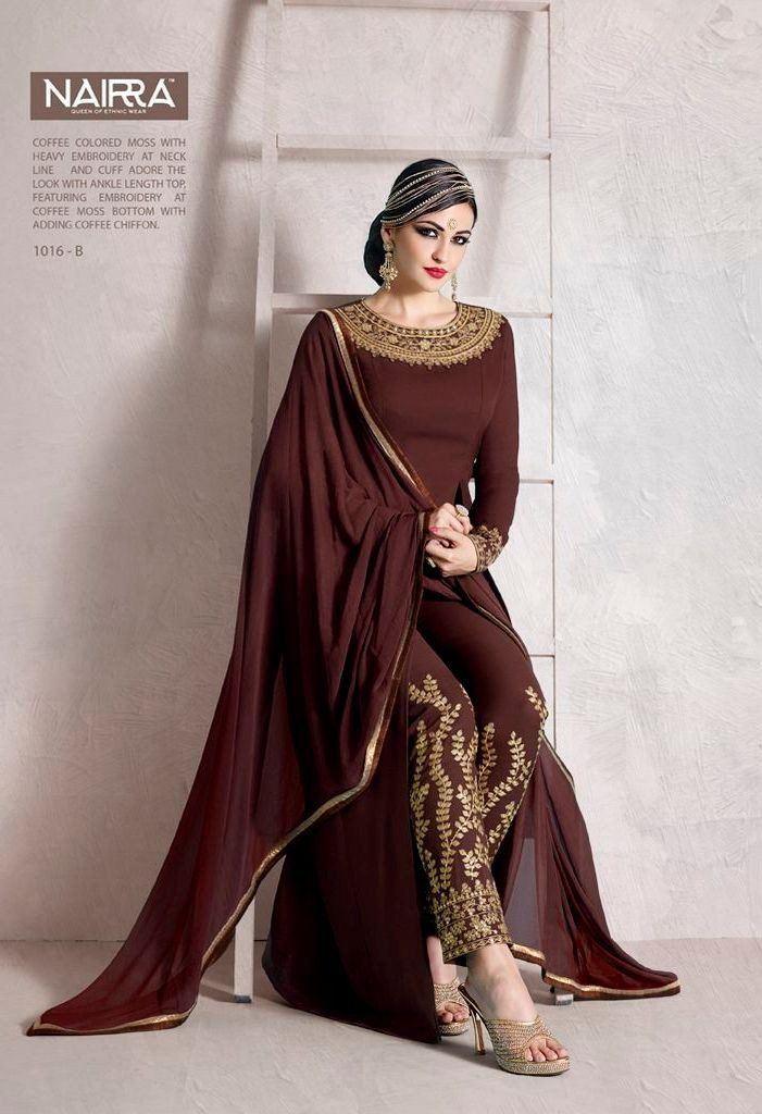 Product Code 1016B Weight 2 KGS Delivery Days 20 Days Fabric-Top Ankle Length Top In Coffee Color Moss Fabric With Heavy Embroidery At Neck Line And Cuff Fabric-Dupatta Coffee Moss Chiffon Dupatta Wit