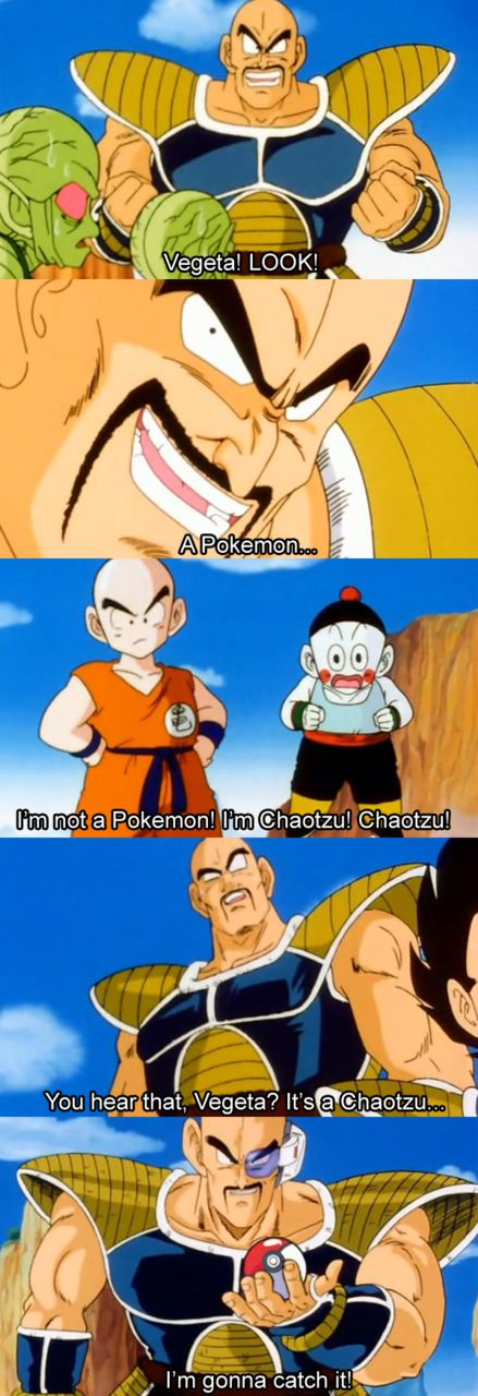 lol not many people will get this  Those that do, have seen Team Four Star's DBZ Abridged.