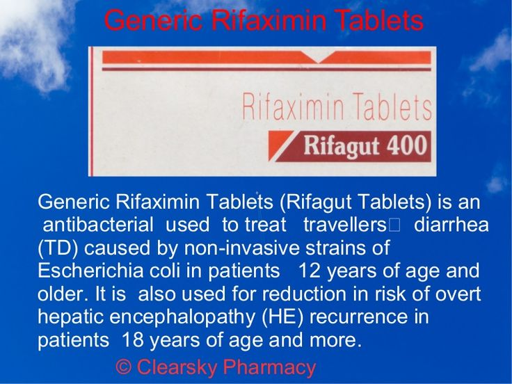 Generic Rifaximin (Rifagut Tablets) is an   antibacterial  used  for the treatment of   travelers'  diarrhea (TD). It is  also used for reduction in risk of ov…