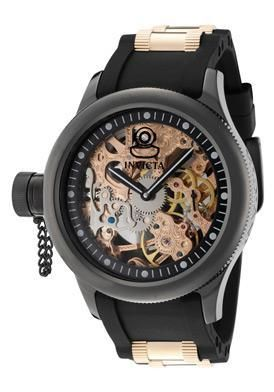 INVICTA Womens Russian Diver Mechanical Rose Gold Black Poly Skeleton Watch 1847 $166.00