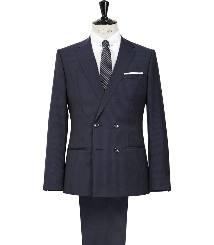 Mens Navy Double Breasted Suit - Reiss Basset