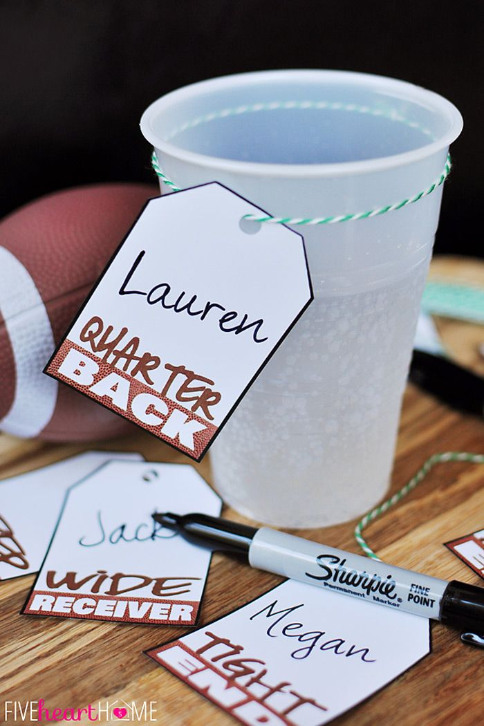 Printable Super Bowl Drink Tags {PLUS Slow Cooker Root Beer Pulled Pork Sliders with Creamy Broccoli Slaw recipe} | FIveHeartHome.com