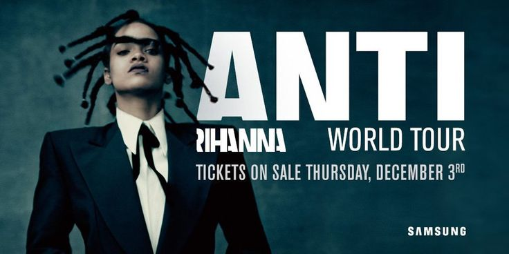 """Rihanna's eighth studio album—Anti—will be released on December 4th  (November 27th on TIDAL) and she has announced a world tour to go with it.  The """"Anti"""" World Tour kicks off in San Diego on February 26th and runs for  nearly 6 months before its final show in Zurich, Switzerland on August  12th. Travi$ Scott will be joining Rihanna on the US dates, while The  Weeknd and Big Sean will accompany her overseas. Tickets go on sale to the  general public on December 3rd and to TIDAL subscribers…"""