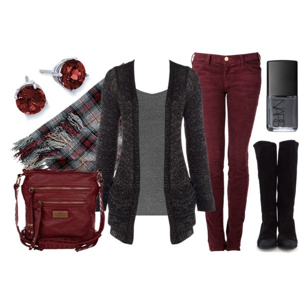 """Berry Burgundy"" by qtpiekelso on Polyvore - INSPIRED: cranberry skinny jean, charcoal cardi, black boot, berry bag/gunmetal jewelry/polish"