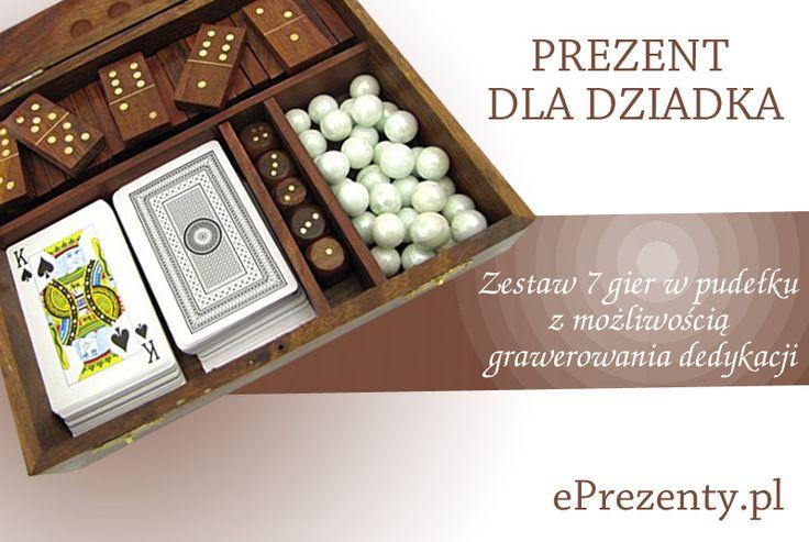 Wysokiej jakości zestaw siedmiu gier m.in: szachy, warcaby, domino, kości, karty. Zestaw gier umieszczony jest w pudełku z drewna sheesham, z elementami wykonanymi z mosiądzu. Całość stylizowana na stary przedmiot. http://bit.ly/1G0dlQg